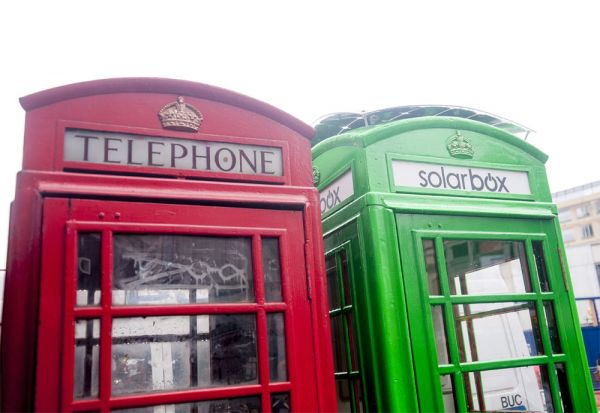 Free green charging of mobile devices in London